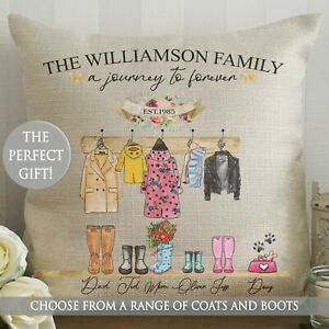 Personalised Cushion Wellington Boot Wellie Coat Family New Home Christmas Gift
