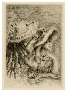 """An Antique Original Print Etching By Renoir""""Le Chapeau Epingle"""""""