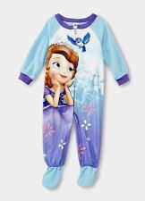Disney SOFIA the FiRST Fleece FOOTED Pajamas NeW Girl's 4T Zip Winter Footie Pjs