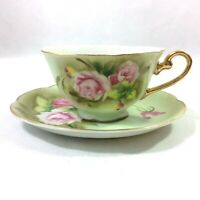 LEFTON CHINA GREEN HERITAGE CABBAGE PINK ROSE SET 1 COFFEE TEACUP SAUCER #5680