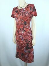 MILLERS Red Patterned Dress Size 14 Gathered Stretch Lunch Dinner
