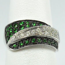 14K WHITE GOLD  EMERALD & DIAMOND WAVE RING 5.0 GRAM / SIZE 6