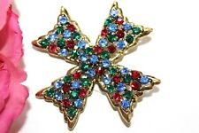 Weiss Mystical Signed High End Designer Maltese Multi Color Brooch Bd28