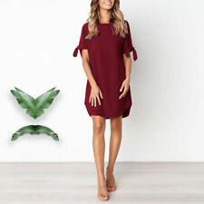 Plus Size Women Summer Casual Short Sleeve Shift Dress Ladies Beach Loose Dress