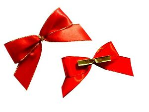 10 Mini Gift Grind Red, Finished Loop, Clip Bow, Minischleife