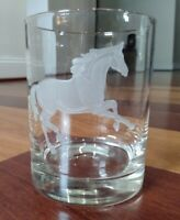 Vintage Bedside Etched Water Glass Running horse heavy bottom PRETTY EUC Rare