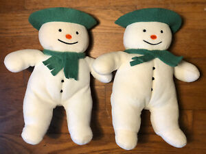 "2 Eden Raymond Briggs The Snowman Plush 10"" White Green Felt Scarf Hat"