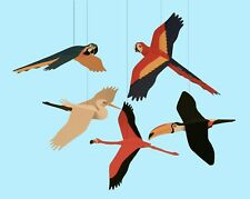 Skyflight Tropical Birds Hanging Baby Classrom Mobile Educational Nursery Decor