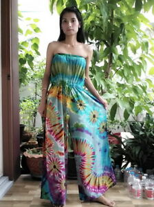Gypsy Boho Tiedye Harems Strapless Smocked Jumpsuit Rompers Pants Trousers S-L