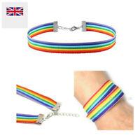 Rainbow Choker LGBT Gay Pride Hippy Boho Unisex Chain Necklace Bracelet US