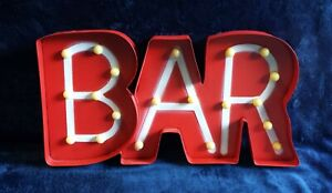"Vintage Style Metal Trimmed ""BAR"" Sign with Round Lights, battery operated"