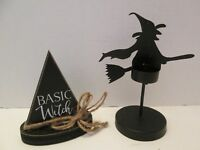 "Halloween Decor Witch Candle Holder and ""Basic Witch"" Plaque"