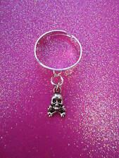 Adjustable Skull and Crossbones Charm Dangle Ring