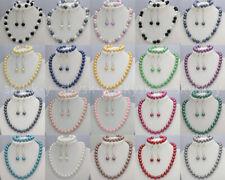 Women Jewelry 8/10mm Multi-color Shell Pearl Necklace Bracelet Earrings Set