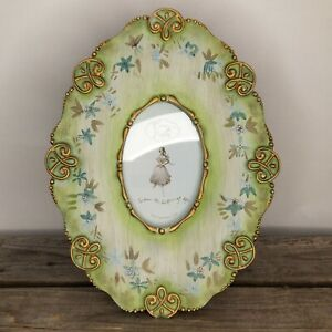 MCM 60s Style FRENCH PROVINCIAL Green w/ Gold Trim OVAL PHOTO FRAME Tracy Porter