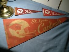 "St. Louis Cardinals 1 Large felt Pennant & 2 small Pennants Vintage 12"" X 30""&"