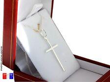Fine croix chretienne en pendentif avec chaine 50cm ecrin en Argent Massif 925