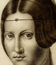 Portrait de femme d'ap. Léonard de Vinci - La Belle Ferronnière - Dessin ancien