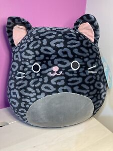 "Squishmallows Xiomara 10"" Black Leopard Panther Cat Plush Kellytoy NWT"