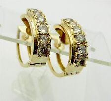 Estate 14k Yellow Gold  Natural Diamond 2.0 tcw Hoop Earrings