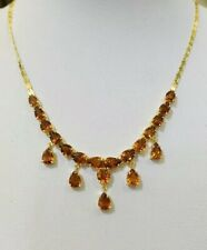 14k Solid Yellow Gold Necklace & Pendant W/Natural Pear Orange Color Sapphire