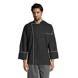 Murano men's chef coat, Black with White Piping, XS to 3XL 0432