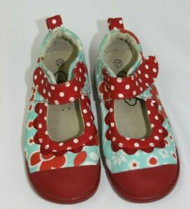 MATILDA JANE baby girls toddler size 25/8 red and aqua floral shoes RARE