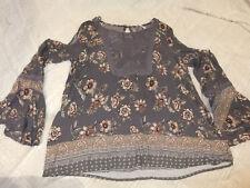 Knox Rose Gray w/ Floral Print & Crochet Long Sleeve Tunic Shirt  Sz S