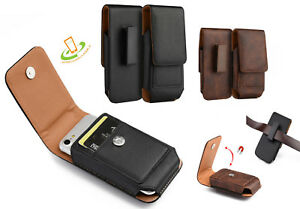 Cell Phone Pouch Vertical Leather Case Cover Belt Clip Holster with Cards Holder
