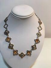 Rare David Yurman Quatrefoil Necklace 18k Gold Sterling Silver Citrines