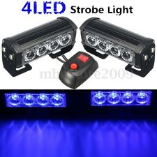 2x 4 LED Car Truck Strobe Flash Grille Light Warning Hazard Emergency Lamp Blue