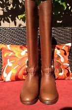 STUNNING!*Tory Burch Amanda Genuine Leather Riding Boots Size 6 Almond Sold Out