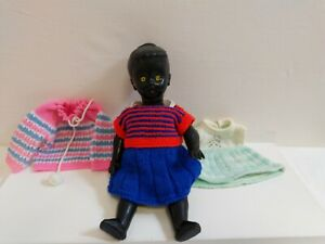 """Vintage 13"""" Black plastic jointed doll and adorable handmade knitted outfits"""
