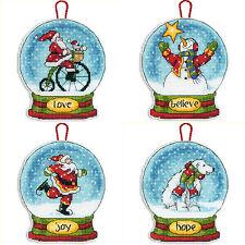 Cross Stitch Kit ~ Dimensions Set of 4 Snow Globe Christmas Ornaments #SNGL4