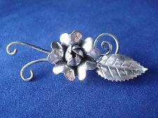 OLD Sterling Silver Blooming FLOWER Serrated Leaf  Floral VINE Pin BROOCH