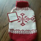 Restoration Hardware Hot Water Bottle Cover Lamb's Wool Red White Snowflake New
