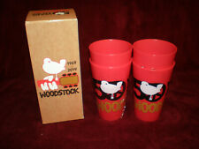 New - Woodstock 50th Anniversary Collectible Red Plastic Drinking Cups -Set of 4