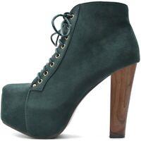Damen Stiefeletten Plateau Boots High Heels Pumps Grün Samt Holz Absatz Style