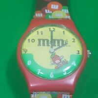 M&M's Wrist Watch Character Advertising Skate board Brown Red Timepiece
