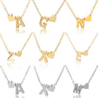 Women 26 Letters Heart Love Choker Necklace Pendant Charm Jewelry Clavicle Charm
