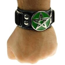 Green Pentagram Bracelet Star Gothic Wiccan Occult Faux Black Leather Wide Cuff