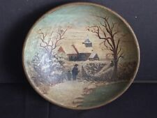 Antique Primitive Wooden Bowl with Winter Scene Painting