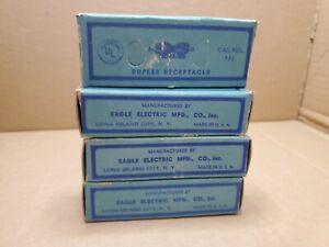 4x Vintage Eagle Bakelite Outlet Receptacle 733 Black 15A 125V NEW Old Stock