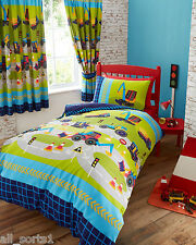 SINGLE BED DUVET COVER SET DIGGERS ROAD SIGNS TRACTOR JCB ROAD BLUE ARROW LIME