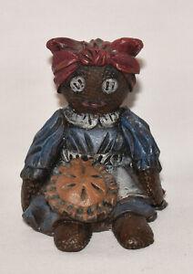 Vintage African American Folk Art Figurine Black Americana Girl Figurine Signed