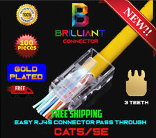 RJ45 connector pass through gold plated CAT5/CAT5e 100 Pieces