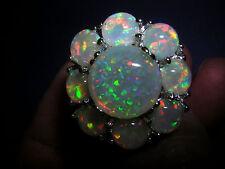 Opal Ring più brillante fuoco Opal in 925 Sterling Fiore Argento cornice dall'aspetto MIS. 54
