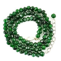 Round Shape 136.00 Cts Earth Mined Green Emerald Faceted Beads Necklace (RS)