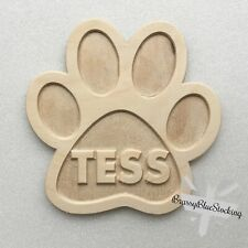 **PETS** Carved Wooden Craft Shape - Carved Personalised Name Paw Print.