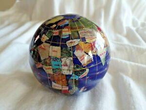 "Vintage 4"" Inlaid Semi Precious Stones Table Top Cobalt Blue Globe Paper Weight"
